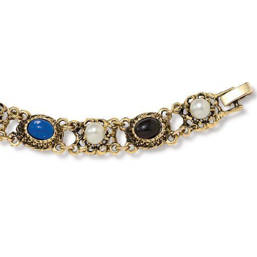 """Oval-Cut Lucite Beads Goldtone Metal Antique-Finish Vintage-Style Bracelet 7 1/2"""" Palm Beach Jewelry. $7.95. Save 39% Off!"""