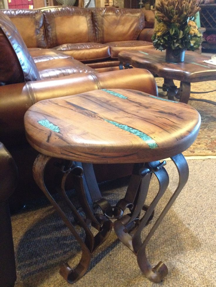 End table with turquoise resin inlaid in to beautiful mesquite wood!!