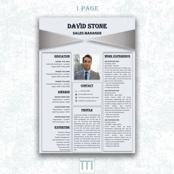 Modern Resume Template For Indesign: CREATIVE CV TEMPLATE Indesign Resume Modern Man Resume