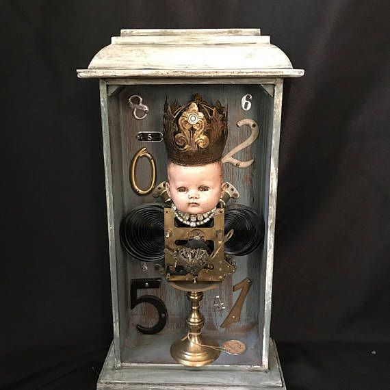 Vintage clock box assemblage with altered art doll and clock