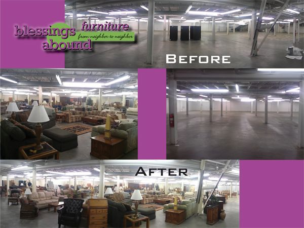 Blessings Abound has open 8,000 sqare feet of furniture. Blessings Abound Furniture store is located on the west side of the shopping center, BEHIND Bike America (former Tuesday Morning location).  Blessings Abound Furniture 9510 Nall Avenue Overland Park, KS 66207
