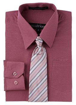 Villa D'Marco Little Boys Long Sleeve Tuxedo Dress Shirt with Printed Tie - Rose (Size 4)