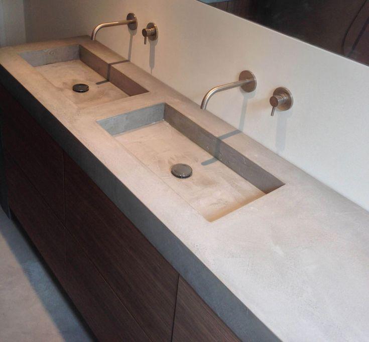 Badkamer met hout beton en zwart bad google zoeken master bathroom pinterest met leven - Badkamer exotisch hout ...
