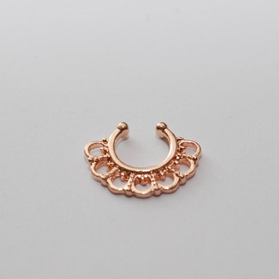 Rose Gold septum faux nose ring fake piercing indian by cclstore