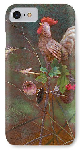 Do you like to add a homey touch to modern devices?  Click the image to buy this new phone case on Fine Art America. An impact-resistant, slim-profile, hard-shell case! A drop-down menu lets you pick your phone model. Country art shows a viburnum branch with red berries on a weather vane, a garden ornament. Realistic art © Nancy Lee Moran #nancyleemoran #FineArtAmerica #phone #iPhone