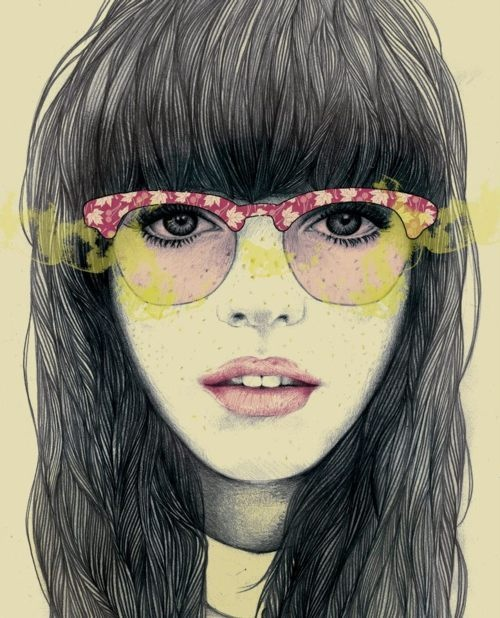 Guys make passes at girls that wear glasses. #art #portrait