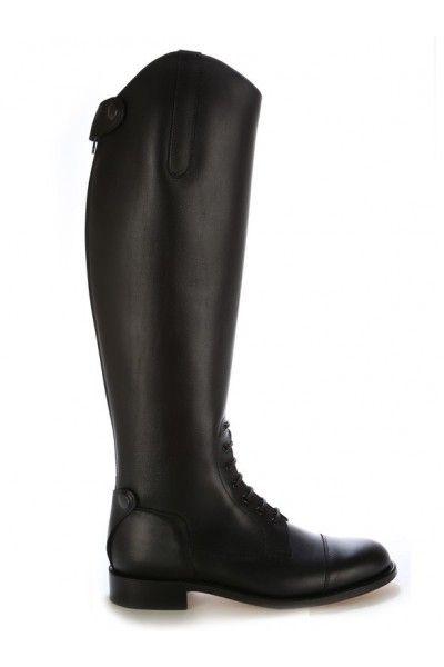 Bottes equitation cuir noir à lacets