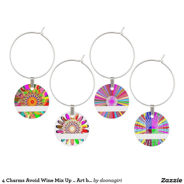4 Charms Avoid Wine Mix Up .. Art by NavinJoshi Wine Glass Charms