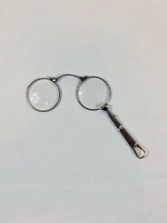 44016c75b5a Antique 1930s Eyeglasses Lorgnette Art Deco Spectacles Folding Silver Color  Prescription Spring Loaded Chrome Steampunk Steel Opera Glasses