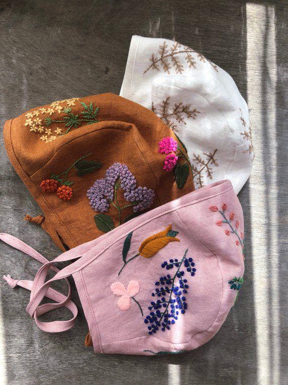 Leinen Baby Mütze mit botanischen wolle Stickerei. 100 % | Etsy