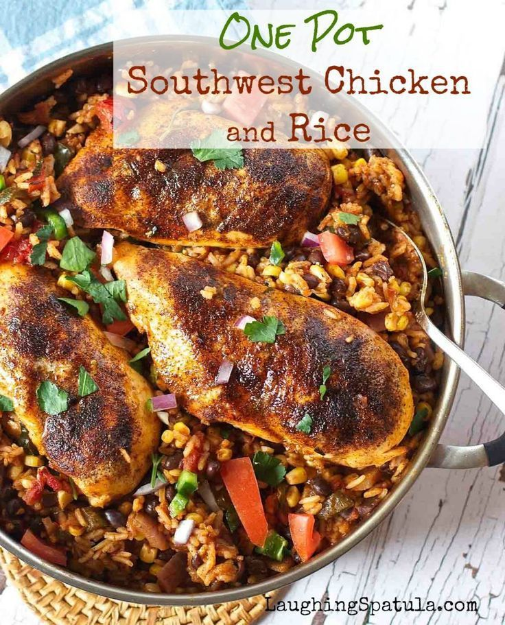 Even the rice goes in uncooked!  Amazing Tex Mex flavors in this ONE PAN meal!