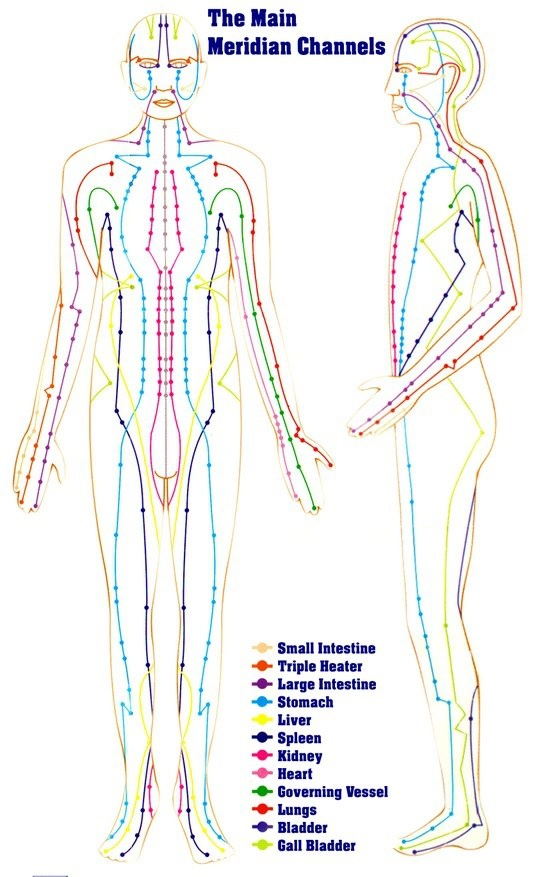 According to Traditional Chinese Medicine, the human body is a vast electrical energy system consisting of 12 two-sided meridians (energy channels) with more than 800 switches or acupuncture points. Chinese medicine teaches that when the energy meridians are in balance, the body will maintain itself
