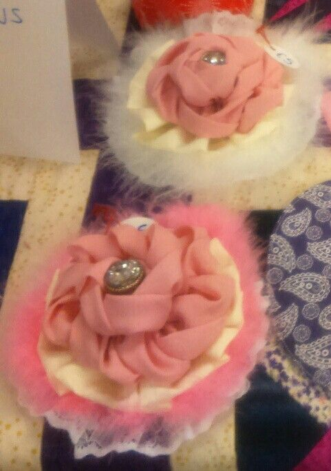 Fabric flowers turned in to a brooch