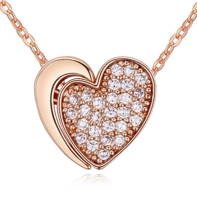 Мода заявление ожерелье с сердцем подвеска Микро-вставки CZ Бриллиантовые ожерелья импорта из кореи