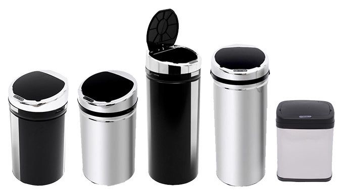 Stainless Steel Sensor Bins - 3 Sizes, 2 Colours Bring convenience to your kitchen with one of these handy Sensor Bins      More hygienic when tidying up after dinner - no need to touch the lid      Bins use infrared technology to sense your approach and open automatically      Lids close after a few seconds of inactivity      Available in 20L, 30L and 42L capacities      Choose from 2...