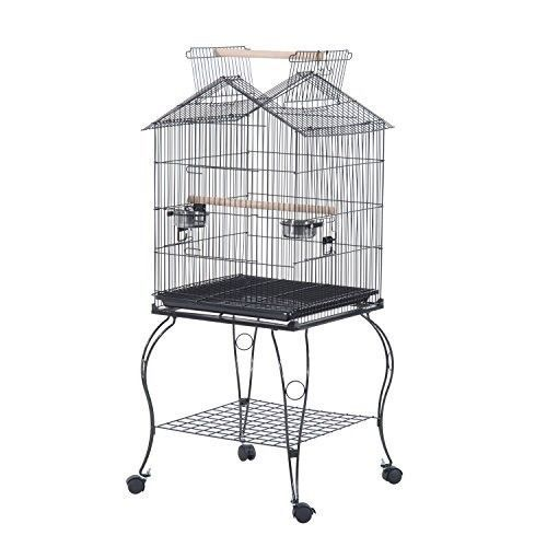 Large Parrot Cage Bird Stand Cockatiel Wheel Breeding House Feeding Tray Black in Pet Supplies, Birds, Cages | eBay
