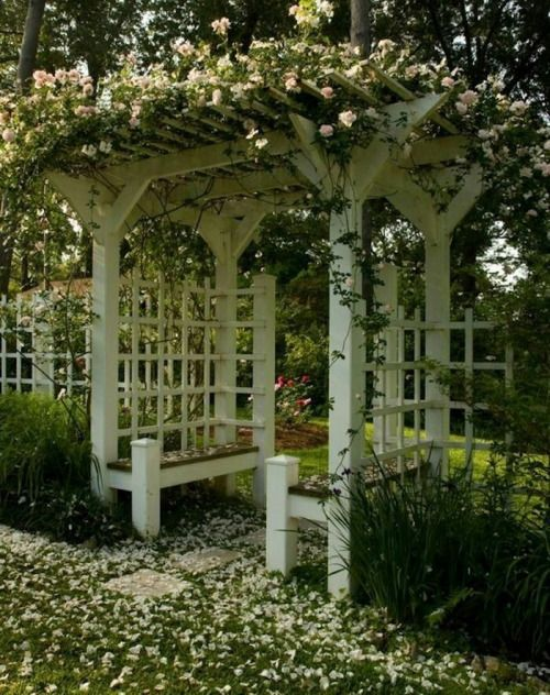 You don't see this old-fashioned trellis these days, do you? The built-in benches are so charming and such a good idea. The aroma must be...