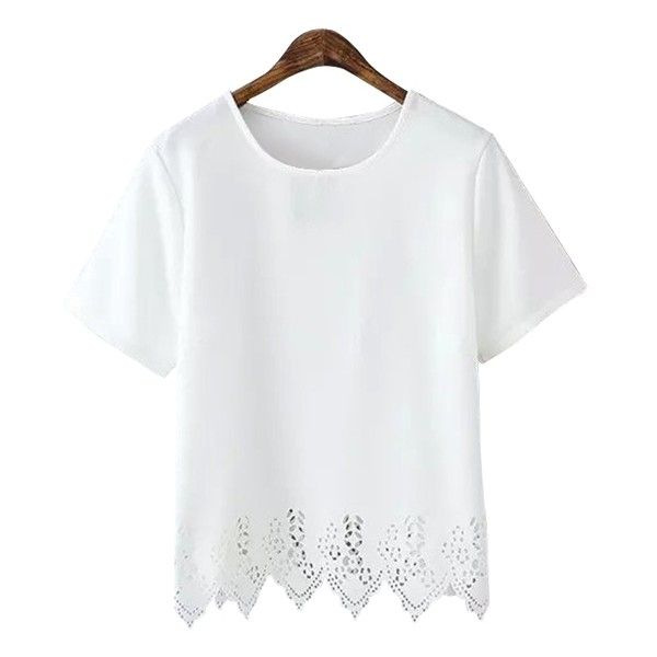 Hollow Hem Short Sleeve T-Shirt (£11) ❤ liked on Polyvore featuring tops, t-shirts, white top, short sleeve tops, white short sleeve top, white short sleeve t shirt and short sleeve t shirts