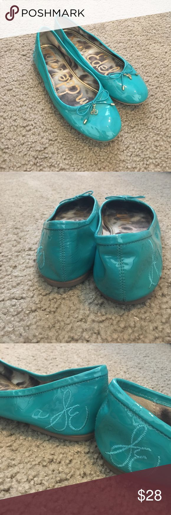Same Edelman Teal Patent Leather Flats Super cute Teal flats! Some minor marks on front of toes where the metal pieces rubbed up against them but nothing else! Sam Edelman Shoes Flats & Loafers