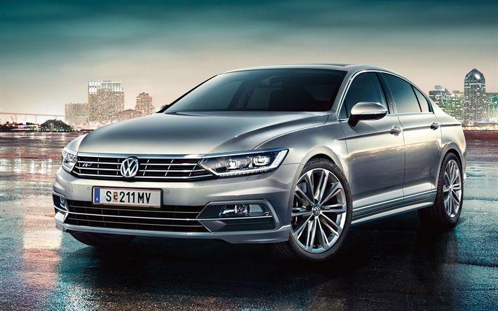 Download wallpapers Volkswagen Passat R-Line, 2018 cars, sedans, new Passat, VW Passat, Volkswagen