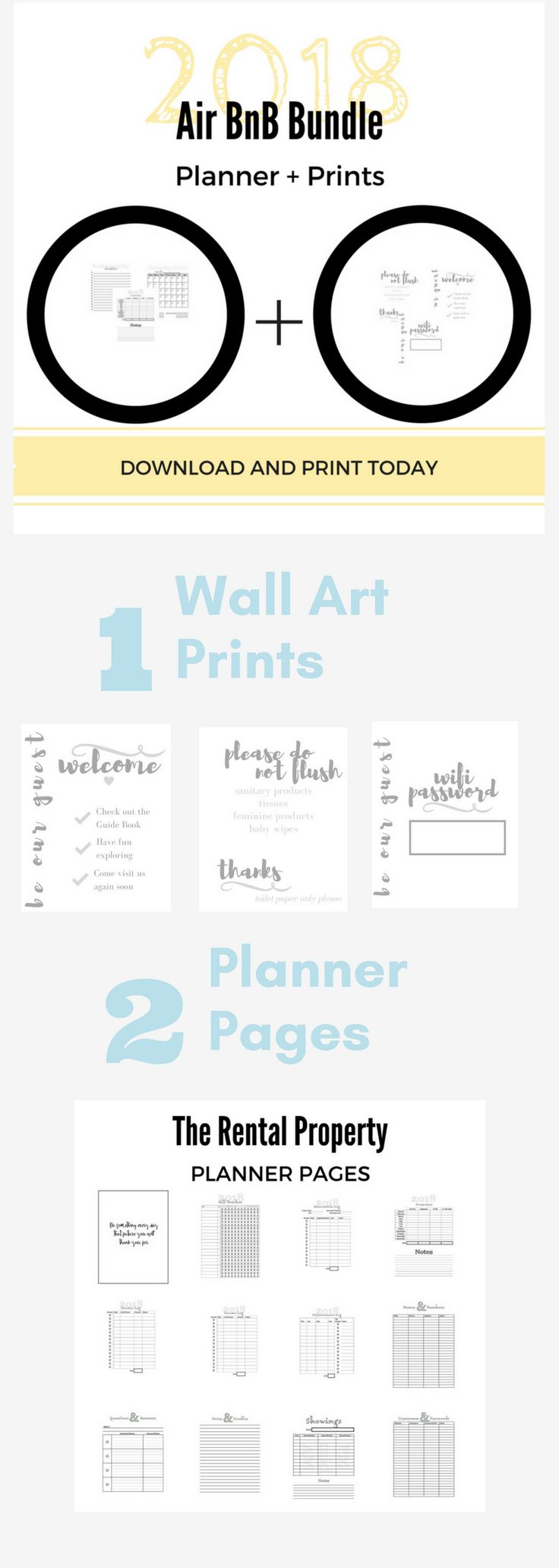 Managing an AirBnB or other vacation rental is a lot of work. Not only managing your check ins but also all the finance side of running a rental property. This bundle is just what you need to stay organized + decorate with beautiful and practical (print from home) home decor wall art. Add that special touch, get better ratings and be a more professional host. This printable property management kit is a great tool for income property owners and AirBnB hosts.