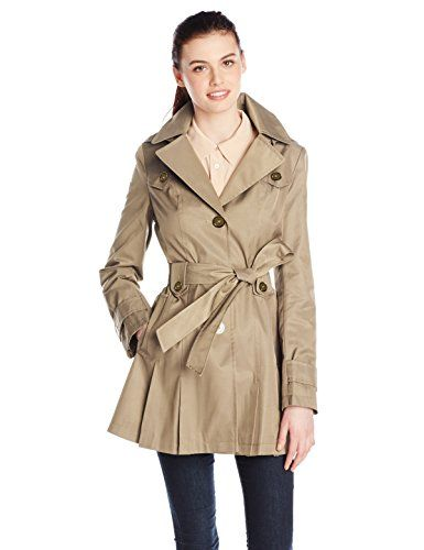 Via Spiga Women's Single-Breasted Belted Trench Coat with Hood *** For more information, visit image link.