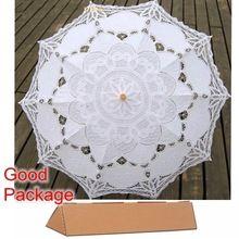 Nuevo Paraguas De Encaje Bordado de Algodón Blanco/de Marfil Del Cordón de Battenburg Paraguas del Parasol de La Boda Decoraciones Envío Gratis(China (Mainland))