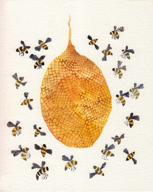 Honey bees and hive watercolour illustration, by United Thread