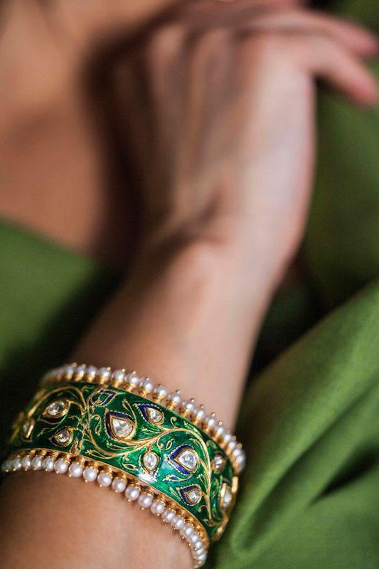 A gorgeous green enamel polki cuff by Sunita Shekhawat. Shop for your wedding jewellery with Bridelan - a personal shopper & stylist for weddings. Website www.bridelan.com #Bridelan