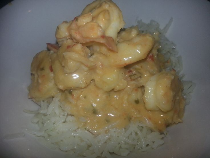 Big Al's Home Cooked Garlic, Chilli and Coriander Prawns in Coconut Milk with Steamed Fragrant Thai Rice
