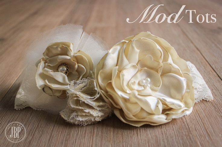Gorgeous Handmade Vintage Style Ivory Cream Flower HeadPiece Custom Colours Available LIKE US on Facebook www.facebook.com/modtotsadorablechildrensclothingandaccessories