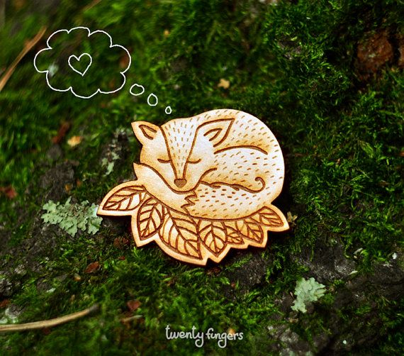 Wood Laser cut Brooch Sleeping Fox by TheTwentyFingers on Etsy, $14.00