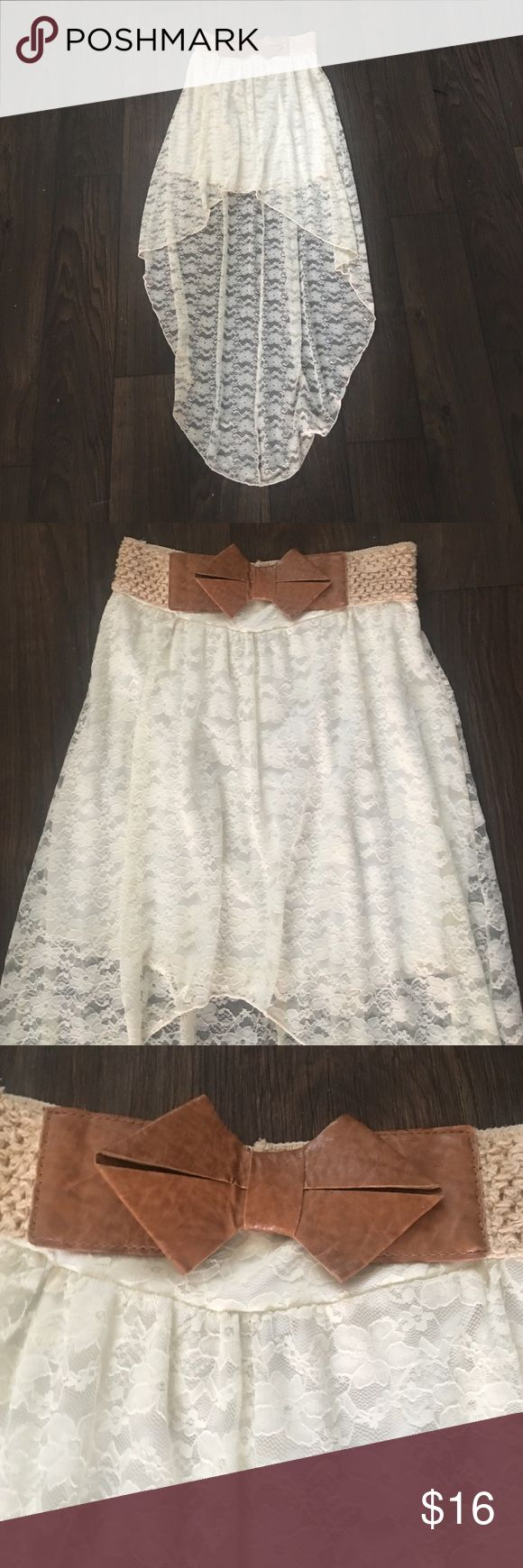 Cream lace skirt A high-low lace skirt with a brown bow belt on the waist!!😍 Rue 21 Skirts High Low