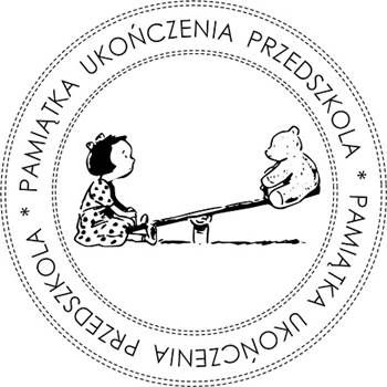 Okrągły Gumowy Stempel - Pamiątka Ukończenia Przedszkola - Huśtawka - no16