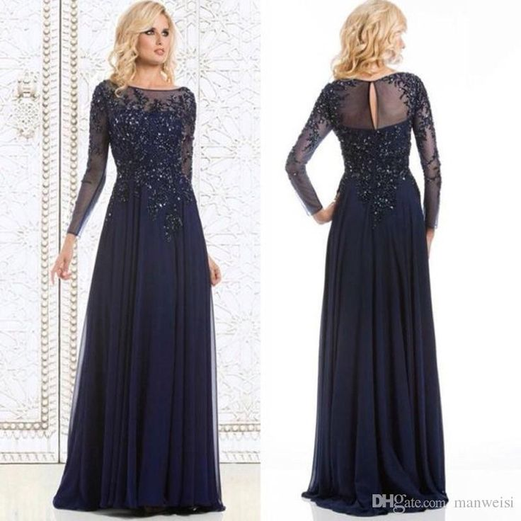 Navy Blue Mother Of The Bride Dresses Long Sleeve Beads