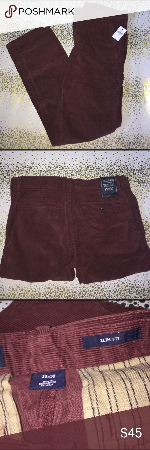 Gap Tailored Slim Fit Khakis (maroon) Suede like texture. Brand new with tags GAP Pants Chinos & Khakis