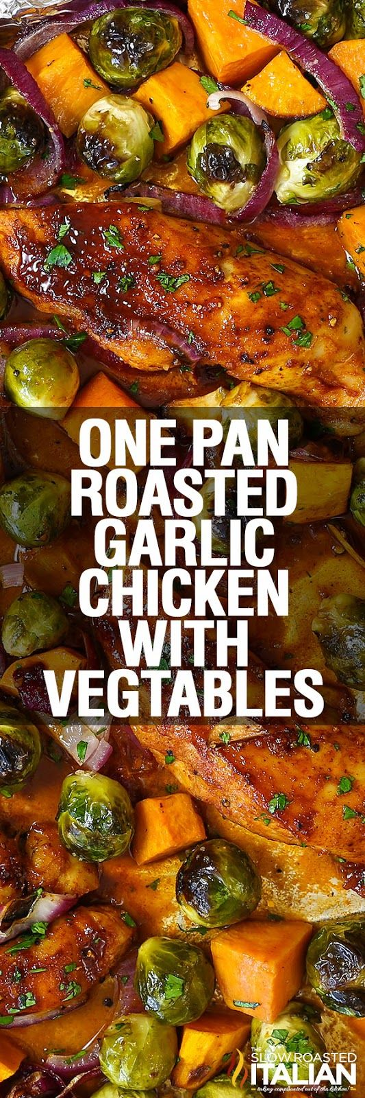 One Pan Roasted Garlic Chicken is a simple recipe for a sheet pan supper that your family will thank you for. Moist and tender chicken is bursting with flavor from the sweet heat honey garlic marinade. Brussels sprouts and sweet potatoes are roasted to caramelized perfection. The ultimate family dinner, this one pan recipe is one that you will be making again and again.