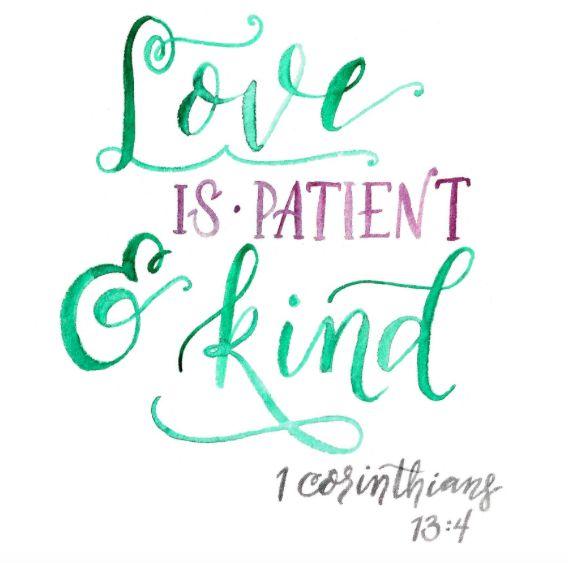 FREE DEVOTIONAL hand lettering love is patient love is kind, 1 corinthians, bible verse, hand lettering, watercolor, pursuit community