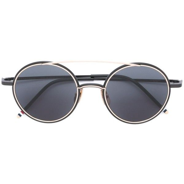 Thom Browne round frame sunglasses ($825) ❤ liked on Polyvore featuring accessories, eyewear, sunglasses, black, round frame sunglasses, unisex sunglasses, thom browne eyewear, round frame glasses and thom browne sunglasses