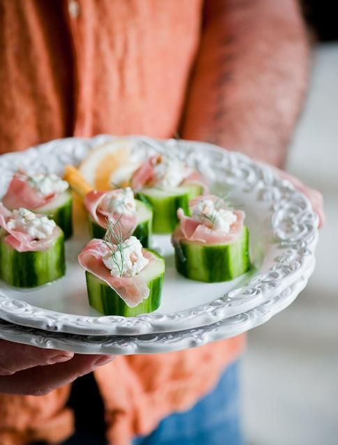 Appetizers Recipe : Stuffed Cucumbers Recipe with Feta Cheese and Procuitto