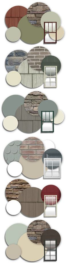 Great color schemes for house exterior. When they ask us what color we want this should help!