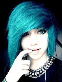 emo girls with bangs purple blue - Google Search