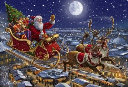 Santa Sleigh And Reindeer In Sky Christmas Scenes Christmas Pictures Magical Christmas