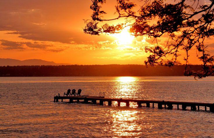 Jezioro, Zachód słońca, Gałęzie, Molo