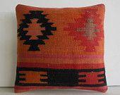 DECORATIVE PILLOW Decorative Throw Pillow Kilim Pillow Cover Turkish Cushion Case eclectic outdoor sofa antique rug decor Victorville orange