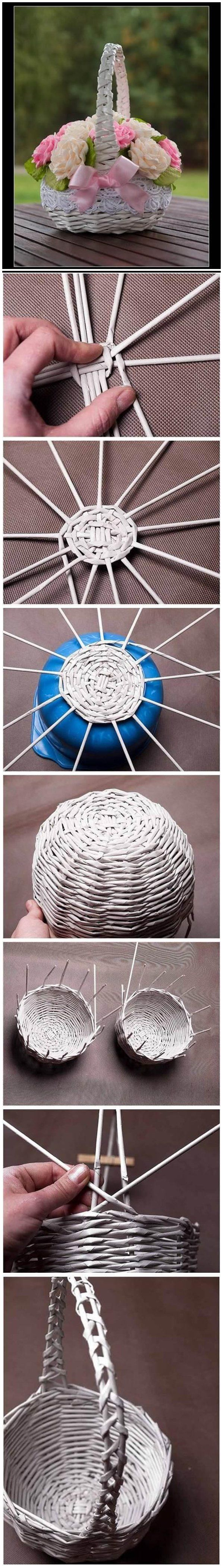 Pinterest Facebook Google+ reddit StumbleUpon Tumblr Pinterest Facebook Google+ reddit StumbleUpon Tumblr Here is a nice DIY project to make a weaving basket using newspaper tubes. Isn'tthat cool? After you are done with the weaving, decorate the basket with lace and bows and place some flowers in it. Now you have this beautiful home decor