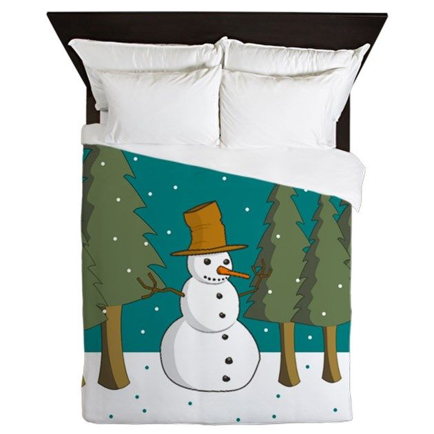 This snowman is alone in the  pine forest on a snowy day... #christmasbedding #holidaybedding