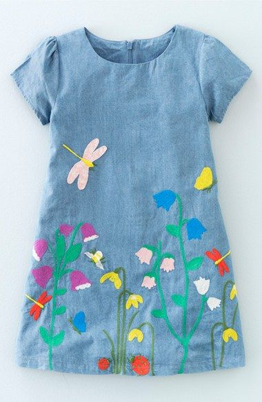 Mini Boden 'Pretty Meadow' Embroidered Denim Dress (Toddler Girls, Little Girls & Big Girls) available at #Nordstrom