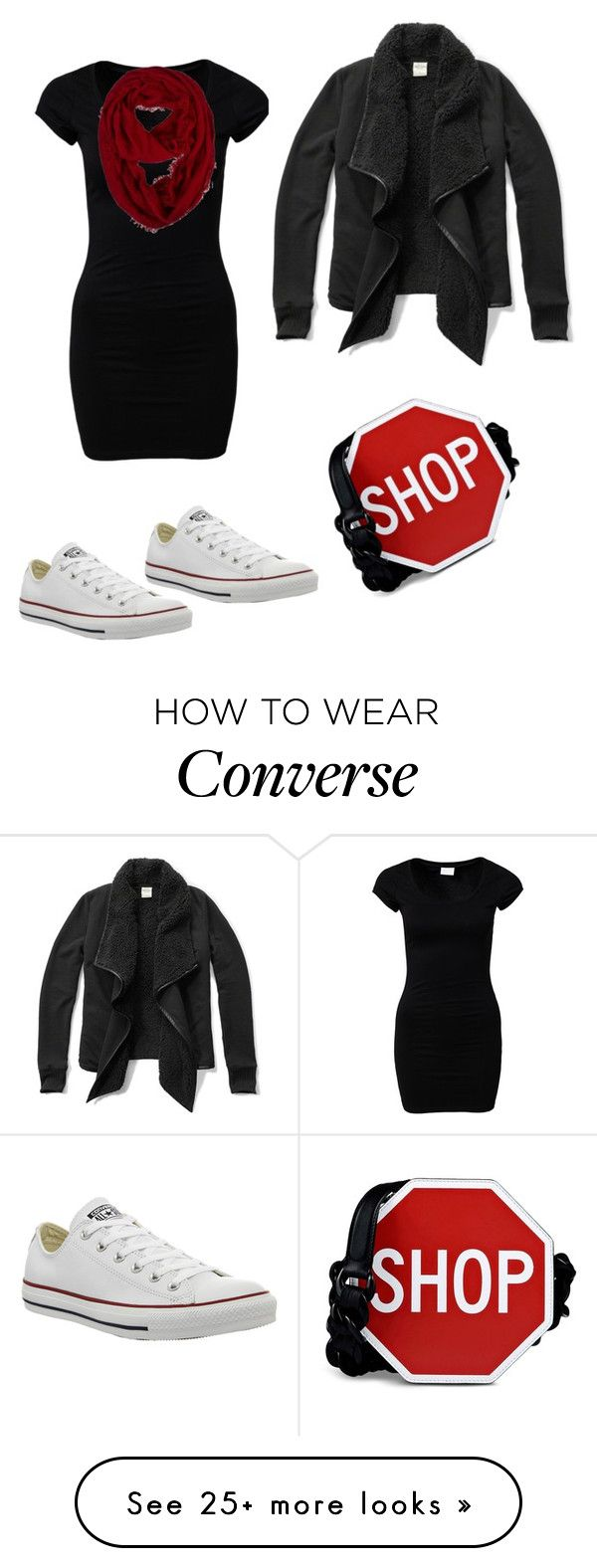 """Shopping!"" by princesaurbana on Polyvore featuring VILA, Moschino, Converse and Abercrombie & Fitch"