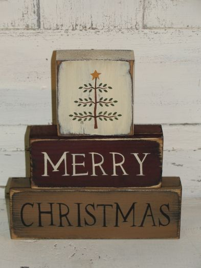 Merry Christmas Wood Block set